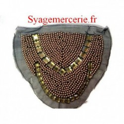 Motif Patch, Applique, Perle Strass bronze sur Résille