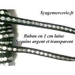 Ruban Sequin au Mètre en Argent sur Support en Laine NOir de 1 cm.