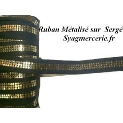 Ruban Au Mètre Métallisé Doré sur Sergé Noir de 2 cm