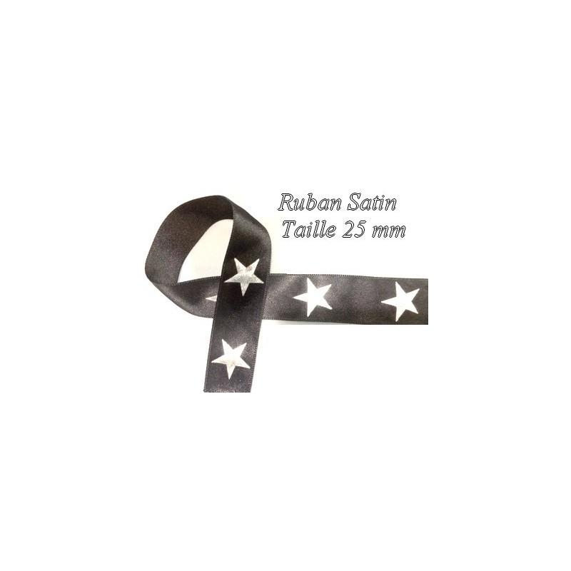 Ruban Satin au Mètre Noir et Argent Etoilé en 2.5 cm