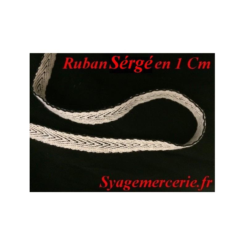 Ruban Sérgé Au Mètre En 1 Cm Écru Sur Fond Noir Pour Laçage Et Serrage.
