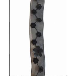 Ruban Organza Orné de Sequins Noir En 1,8 Cm