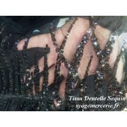 Tissu en Sequins Paillette Sur Résille Tulle Noir En Grande Largeur, pour Robe de Soirée et Caftan.