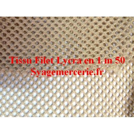 Tissu Filet Lycra Au Mètre Beige