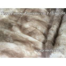 Tissu Fourrure au Mètre Imitation Beige