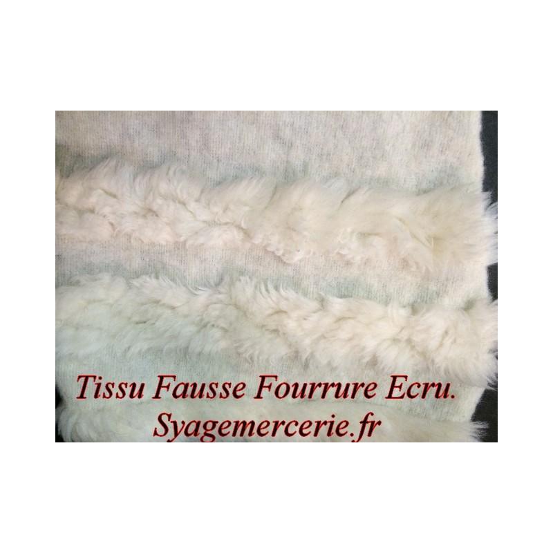 Tissu Fourrure au Mètre Imtiation en Ecru et Laine