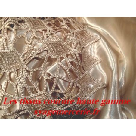 Tissu Dentelle Guipure En Grande Largeur Couleur Beige