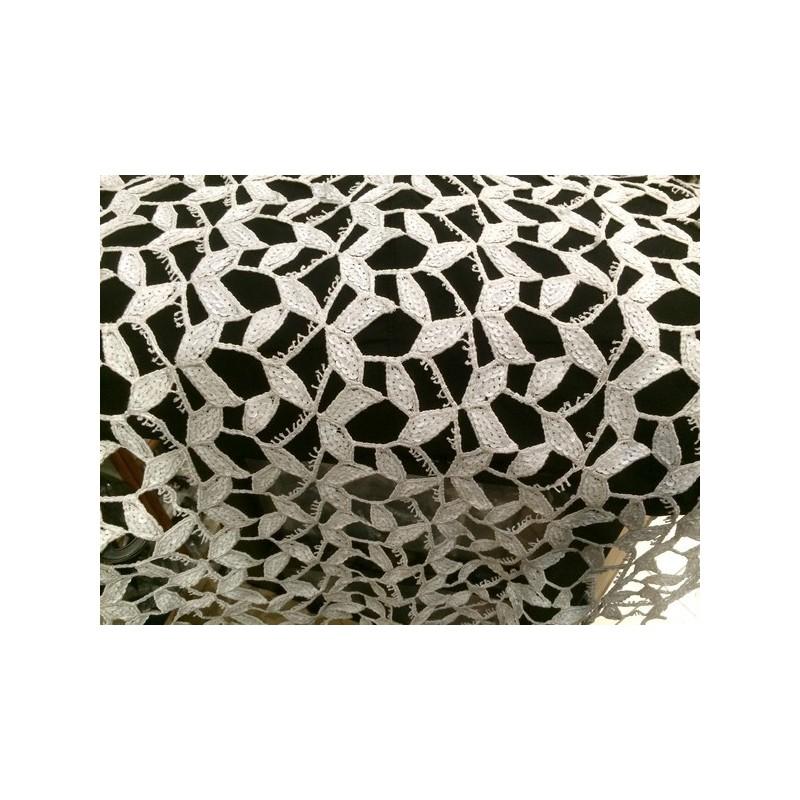 Tissu En Dentelle Guipure Sequins Blanc En Grande Largeur.