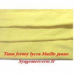 Tissu Jersey Lycra En Maille Viscose Jaune Au Mètre Couture.
