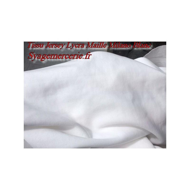 Tissu Jersey Lycra Maille Milano Blanc