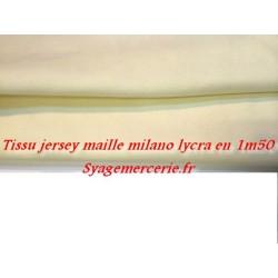 Tissu Jersey Lycra Maille Milano Ecru
