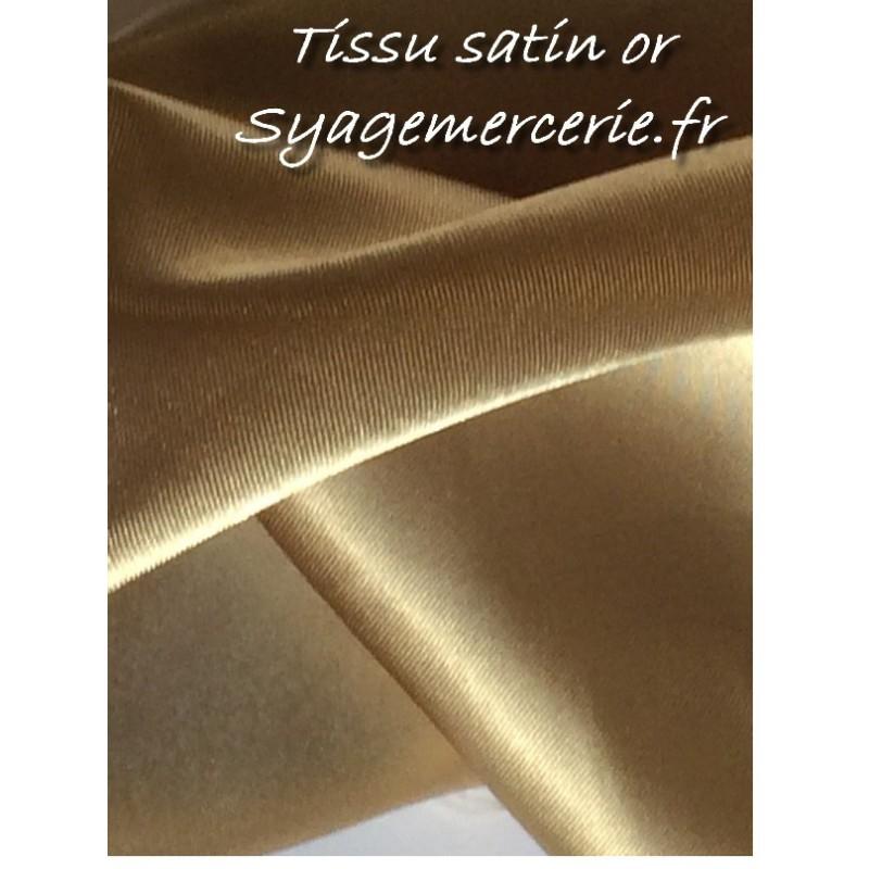 Tissu Satin au Mètre en Polyester en 1 m 50 de Couleur Or