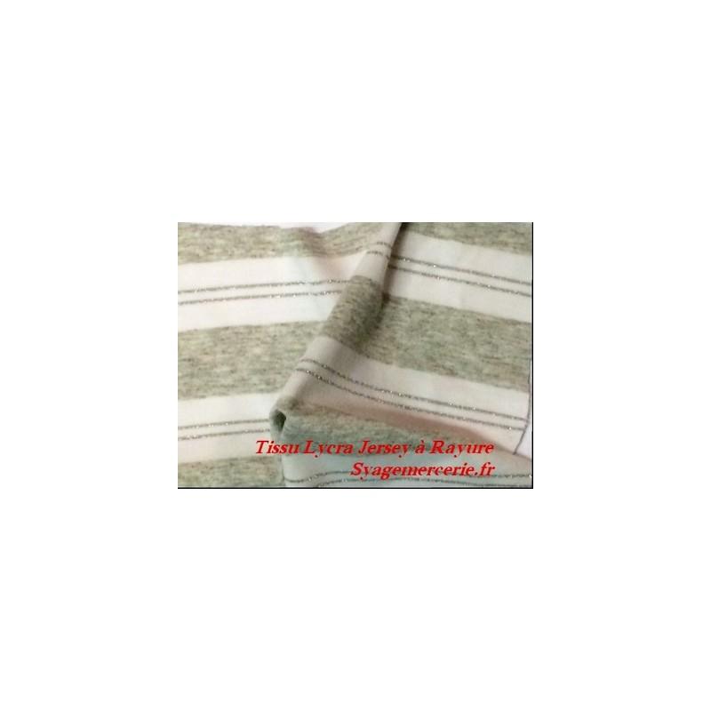 Tissu jersey viscose maille lycra rayure gris et blanc au mètre
