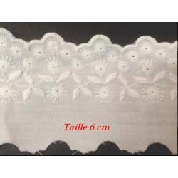 Broderie Anglaise Coton au Mètre en 6 cm Blanche A Coudre.