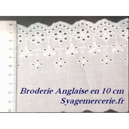 Broderie Anglaise Coton au Mètre en 10 cm Blanche