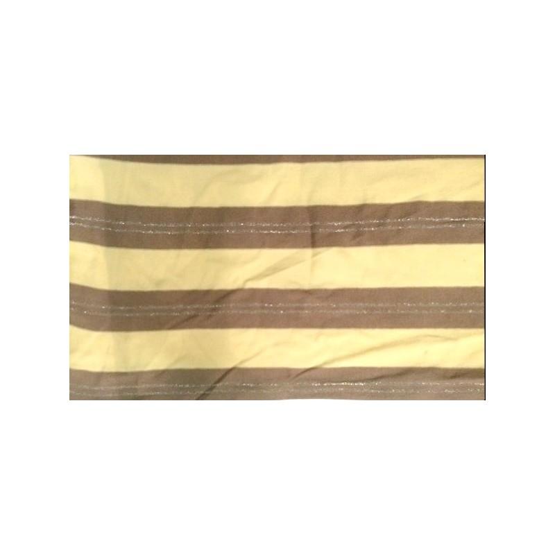 Tissu jersey viscose maille lycra rayure jaune et marron au mètre