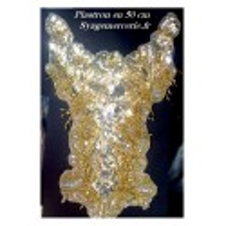 Col Plastron à Coudre En Sequins Argent Et Perles Dorés Et Franges Doré