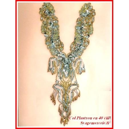 Col plastron en 40 cm à coudre en sequin argent et perles doré franges argent doré