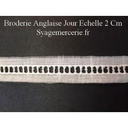 Jour Echelle en Broderie Anglaise 2 cm Blanc, à coudre