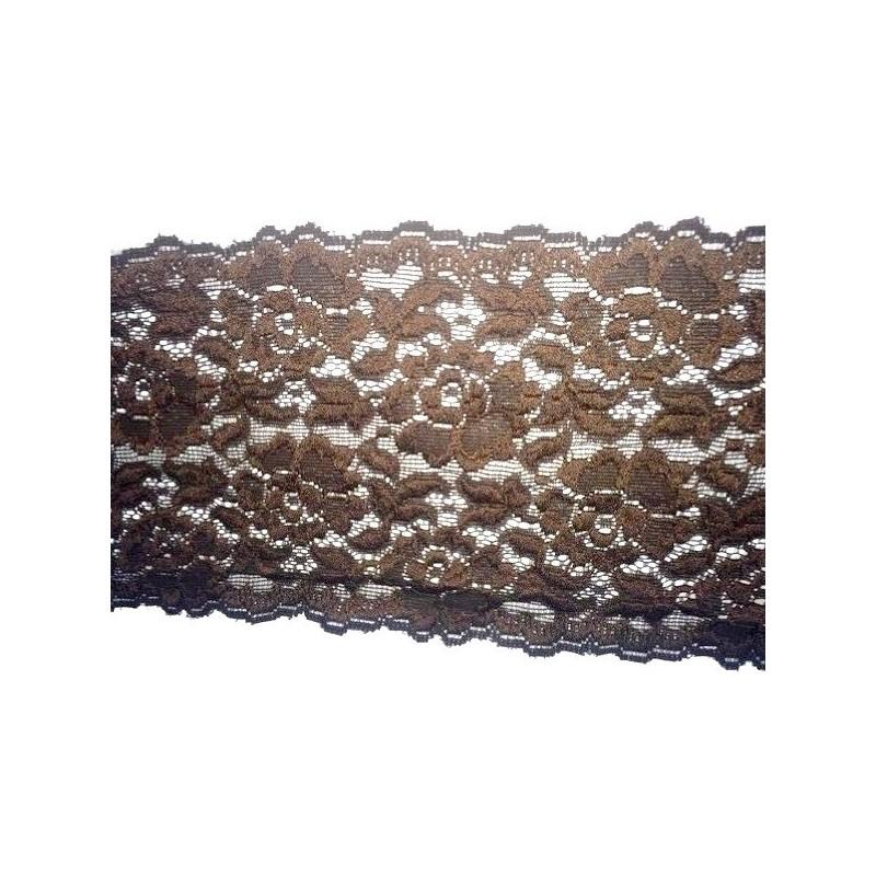 Dentelle brodé lycra en 13 cm choco