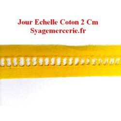Jour Echelle en Broderie Anglaise 2 cm Jaune, à coudre.