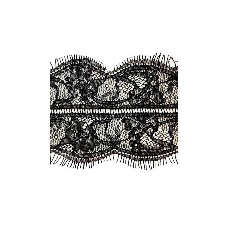 Dentelle Chantilly En Fine Couture en 8 cm Noir