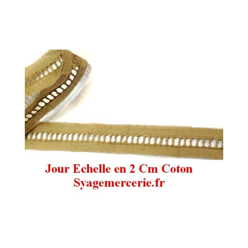 Jour Echelle en Broderie Anlaise 2 cm Beige, à Coudre.