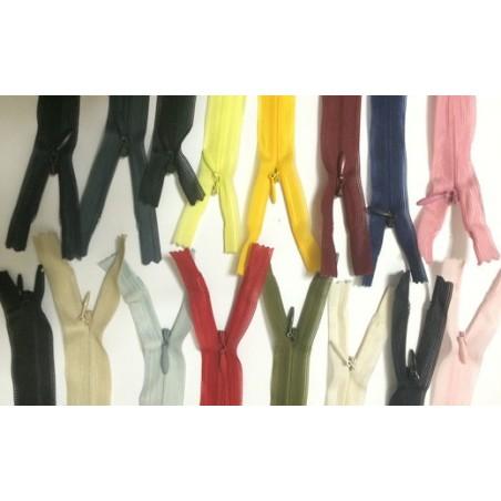 Zip Fermeture Eclair invisible Couleur en 22 cm, 25 Cm, 30 Cm, 35 Cm, 40 Cm, 45 Cm, 50 Cm, 55 Cm, 60 Cm, A Coudre