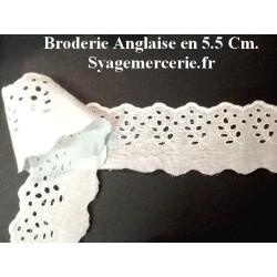 Broderie Anglaise au Mètre Blanche en 5.5 cm à Coudre.