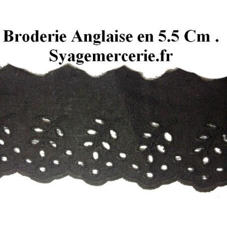 Broderie Anglaise au Mètre Noir en 5,5 cm à coudre.