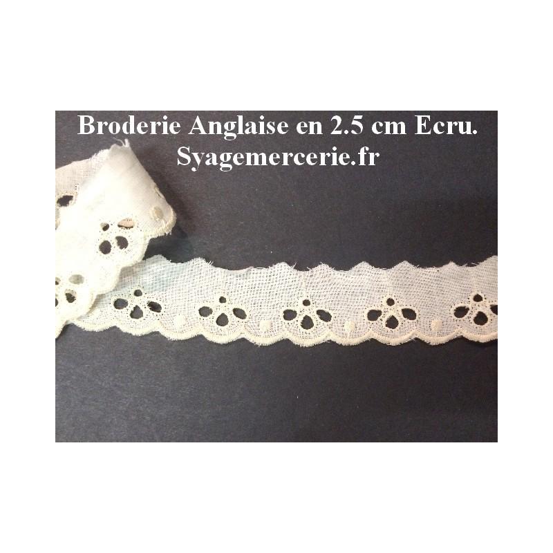 Broderie Anglaise au Mètre Ecru en 2.5 cm à coudre.