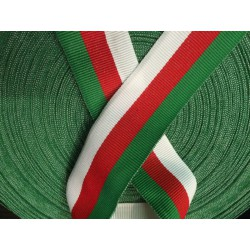Ruban Au Mètre En Gros Grain Blanc Rouge Vert En 35 mm.