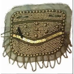 Motif Patch, Applique, Chaine bronze et Perle Kaki sur résille kaki