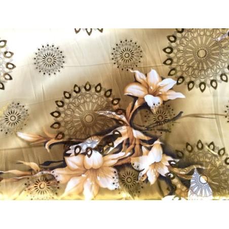 Pack de de 1 Mètre De Satin Au Mètre Et 1 Mètre De Tissu Mousseline Polyesther En Saumon En Motif Fleur Or.
