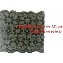 Dentelle Lycra Noire et Grise en 15 cm