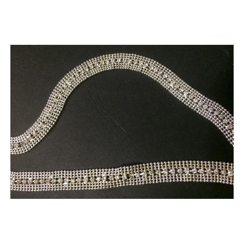 Galon stral au mètre en argent de 1 cm.