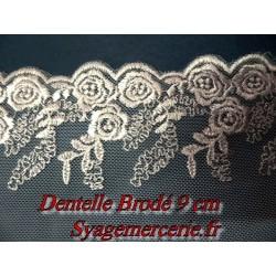 Dentelle Brodé en 9 cm sur Résille Noir A Coudre Pour Customisations et Lingerie.