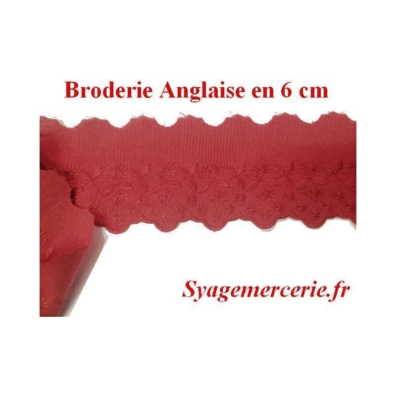 Broderie Anglaise Coton au mètre en 6 cm Rouge Rouille