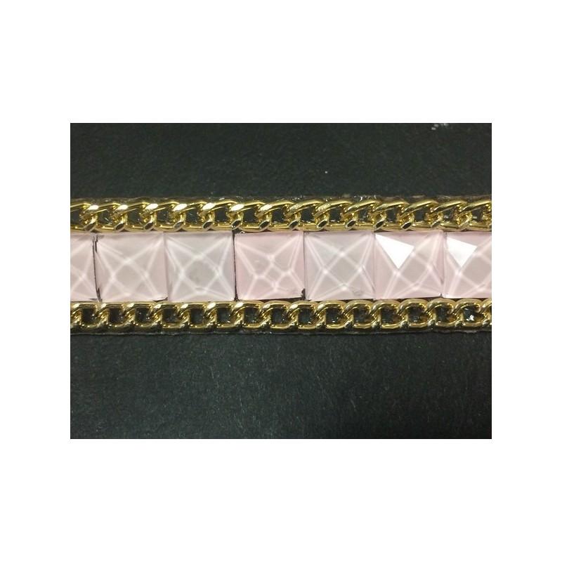 Ruban strass au mètre en 15mm rose orné de chaine doré