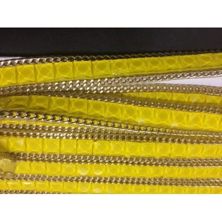 Ruban strass au mètre en 15mm jaune orné de chaine doré
