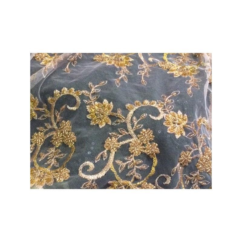 Dentelle perlée au mètre en couleur Saumon et fleurs or, en grande largeur