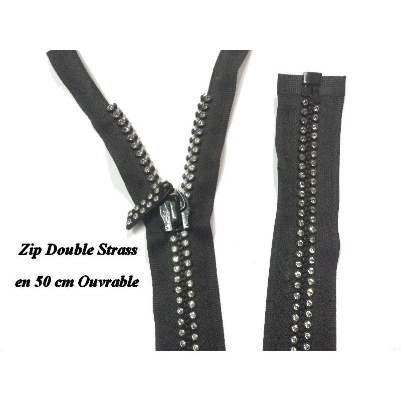 Zip fermeture éclair en double strass ouvrable en 50 cm.