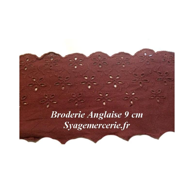 Broderie Anglaise Coton au Mètre en 9 cm Rouille à Coudre.