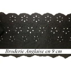 Broderie Anglaise Coton au Mètre En 9 Cm Noir, A Coudre.