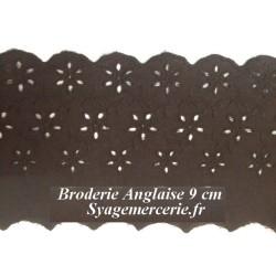 Broderie Anglaise Coton au Mètre en 9 cm Marron Foncé, couture.