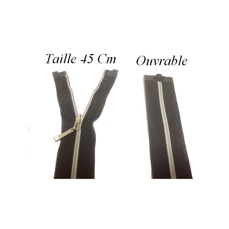 Zip Fermeture Eclair à Glissière en Maille Argent en 45 cm ouvrable à Coudre