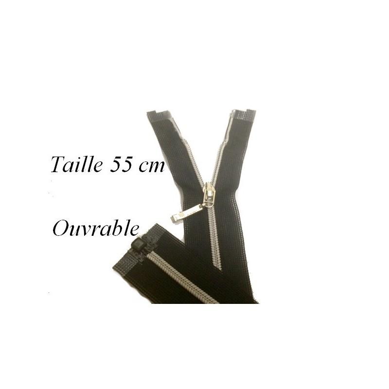 Zip Fermeture Eclair à Glissière en Maille Argent en 55 cm ouvrable à Coudre