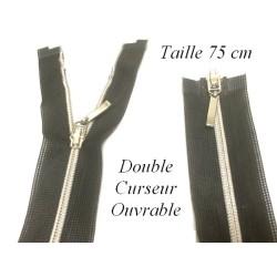 Zip Fermeture Eclair à Glissière en Maille Argent en 75 cm ouvrable à Coudre