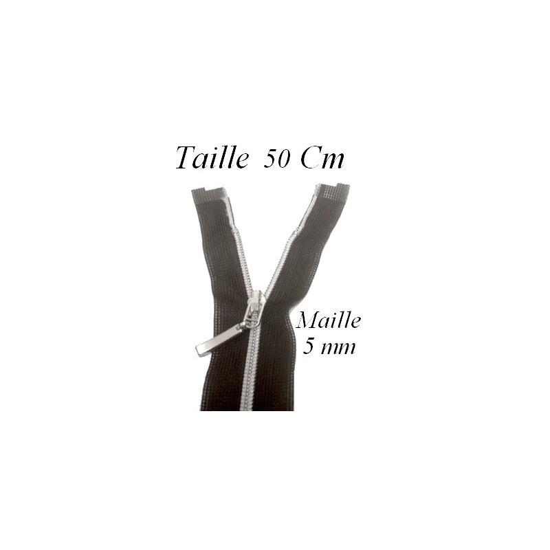 Zip Fermeture Eclair à Glissière en Maille 5 en Argent en 50 cm ouvrable à Coudre