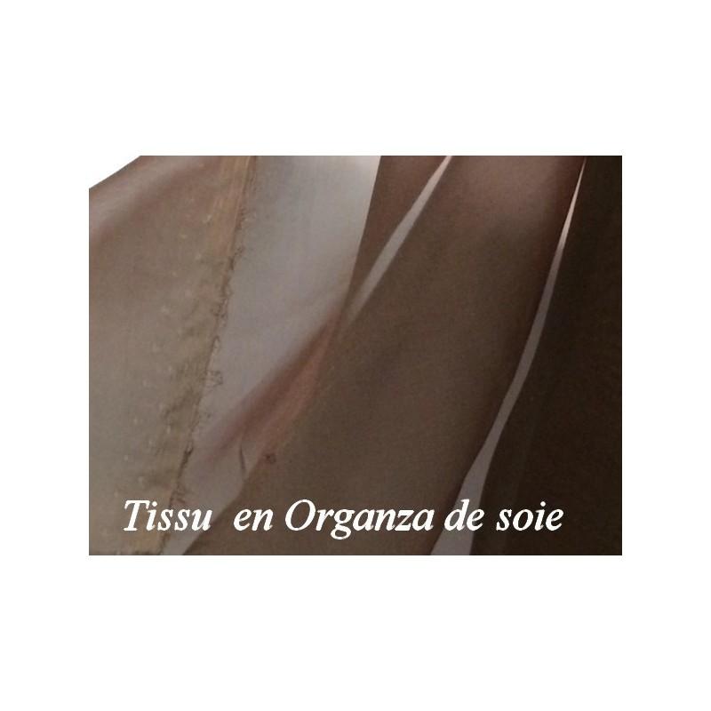 Tissu organza de Soie au Mètre en couleur marron